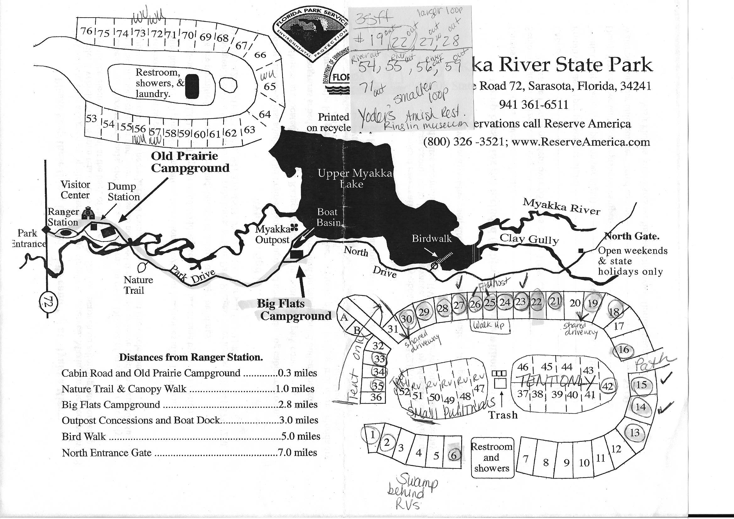 Campground Map - Myakka River State Park - Sarasota - Florida